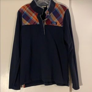 LL Bean navy and plaid rugby top size small